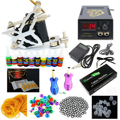 Pro Complete Tattoo Kit one Machine Guns 10 inks Power Supply Beginner Set