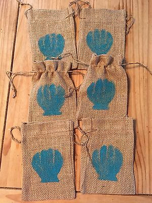 6 Burlap Bags 5 x 7 Hand Painted Drawstring Nautical Sea Shell Blue Party Swag