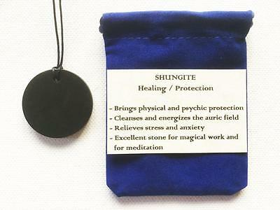 Shungite Pendant Polished Round Necklace, Adjustable Cord, Velvet Pouch
