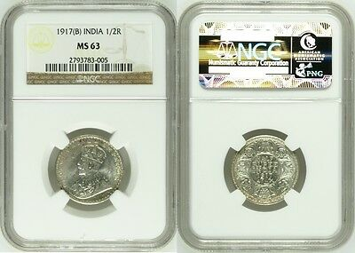British India King George V 1917 (B) 1/2 Rupee NGC MS-63 Silver Coin