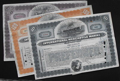Lot of 3 1920s International Mercantile Marine Company Stock Certificates