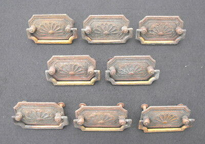Lot of 8 Antique Ornate Keeler Brass Co Victorian Brass Drawer Pulls Marked KBC