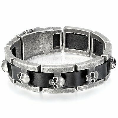 Men's Retro Punk Rock Biker Leather Strap Stainless Steel Bracelet Chain Bangle