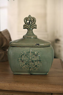 Rustic Green 'Fleur' French Provincial Canister Vase 28cms BRAND NEW. Wide