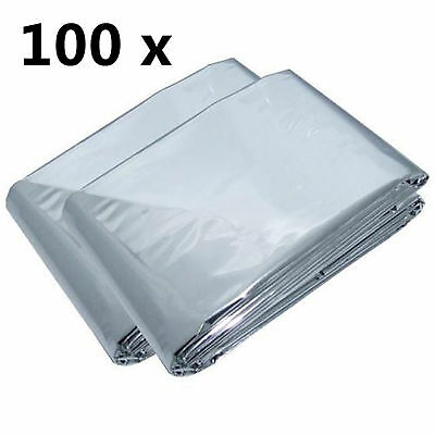 100 x First Aid Survival Rescue Waterproof Foil Emergency BLANKET Camping