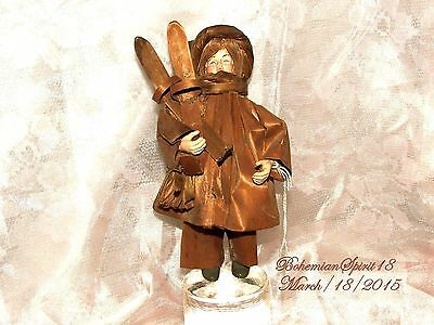 Antique Vintage Celluloid Corn Husk Girl With Skis Winter Dressed Doll