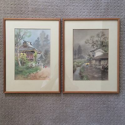 Fukutaro Terauchi Japanese Watercolors (2) Landscape with Figures Paintings