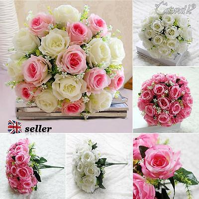 Silk Fake Roses Artificial Wedding Flowers Decrations 18 Head Bridal Posy Home