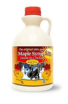 Old Fashioned Maple Crest Canada No.1 Medium Pure Maple Syrup 1 LITRE JUG QUEBEC