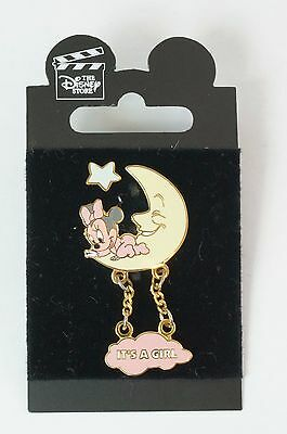 Disney Store JAPAN Pin Baby Minnie On The Moon It's A Girl JDS