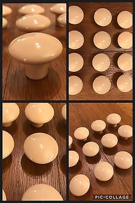 12 Knobs CERAMIC Tan Round Mushroom Cabinet PORCELAIN Handle DRAWER Bin Pulls