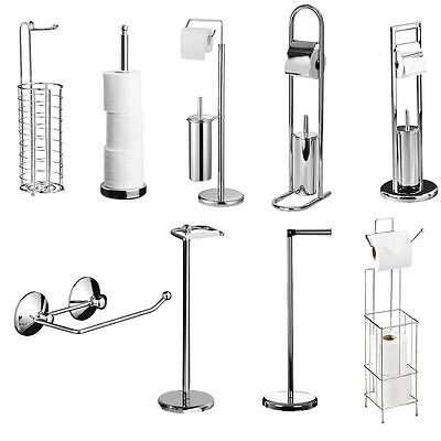 Chrome Floor Standing Toilet Paper Roll Holder & Toilet Bursh With Storage Rack