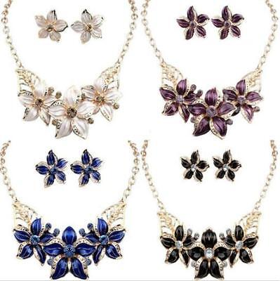 Necklace Crystal Flower Charm Earrings Statement New Set Jewelry Woman Hot