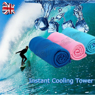 Instant Cooling Towel Sports Gym Yoga Towel Drying Sweat Baby Absorb Dry Case UK