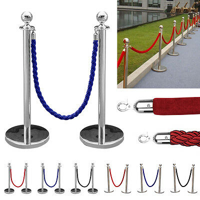 2pc Polished Steel Queue Rope Barrier Velvet Rope Stanchion Posts Stands 3 color