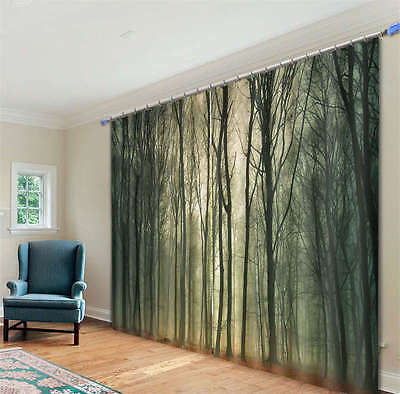 Sequestered Dark Trees 3D Curtain Blockout Photo Print Curtains Fabric Window