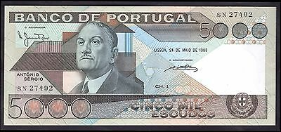 Portugal. 5,000 Escudos, SN 27492, 24-5-1983, Extremely Fine.