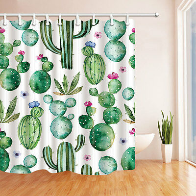 Green cactus Waterproof Bathroom Decor Shower Curtain & 12hook 71*71inch