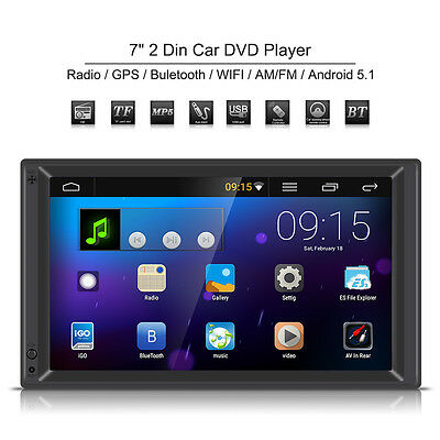 """7"""" 2 Din WIFI Bluetooth Car MP5 Player Stereo FM Radio GPS Nav Android 5.1 + Map"""