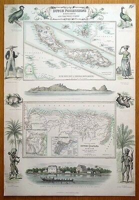 DUTCH WEST INDIES, CURACAO, SURINAM, St MAARTEN, Fullarton antique map c1865
