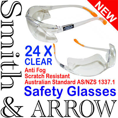 24x CLEAR SAFETY GLASSES LENS EYE PROTECTION PROTECTIVE EYEWEAR ANTI FOG SCRATCH