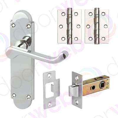 INTERNAL DOOR HANDLE PACK PAIR Lever Plate Latch Lock Bathroom POLISHED CHROME