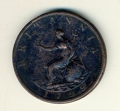 1799 British Half Penny, Nice Very Old VF / XF Copper Coin