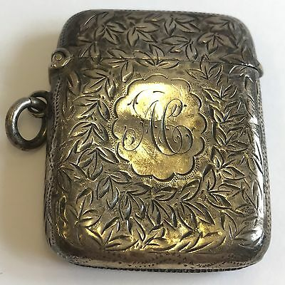 "Antique Victorian Solid Silver Vesta Case 1895 4.8cm X 4.3cm ""AC"" Dented"