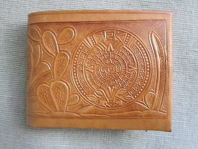 Vintage Tooled Leather Wallet - Eagle / Aztec Calendar / Cactus