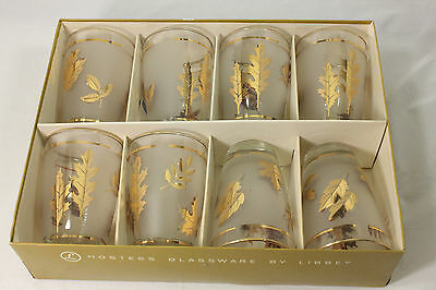 NOS Vtg Set/8 Libbey Golden Foliage Glass Tumblers in Box! Gold Leaves Frosted