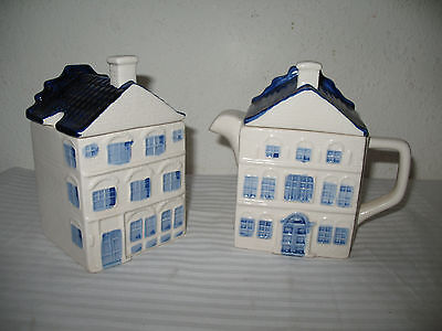 Delft Blue Canal House Sugar & Creamer Set DAIC Hand Painted