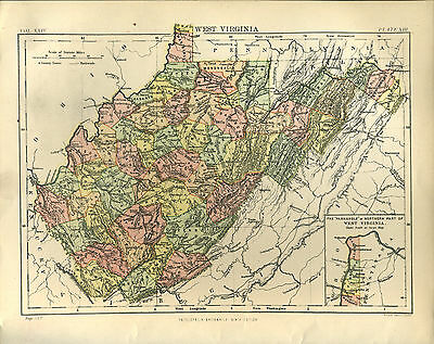 Antique Colour Map of USA States of WEST VIRGINIA color map 1888
