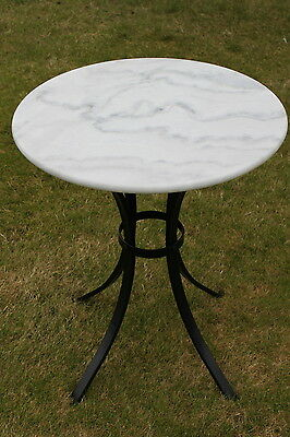 White Marble Top Bistro Table 60cms Round - For the Garden, Indoors or Patio