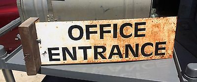 """Vintage Antique METAL DOUBLE SIDED """"OFFICE"""" SIGN Salvage Architectural Man Cave"""