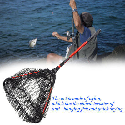 Portable Triangular Brail Folding Fishing Net Landing Net with Pole Rod DP