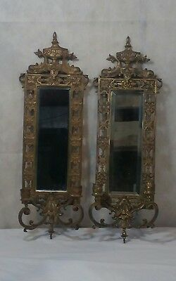 Set Pair Antique Victorian Era Brass Bronze 2-Candle Wall Sconces