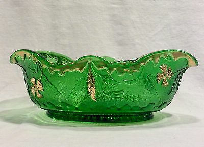 Delaware Banana Bowl - Emerald Green with Gold - US Glass