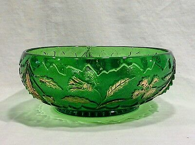 Delaware Round Berry/Serving Bowl - Emerald Green with Gold - US Glass