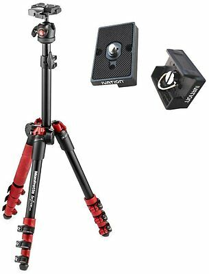 Manfrotto Befree One Aluminum Travel Tripod (Red) + Carrying Case & 2 RC2 Plates