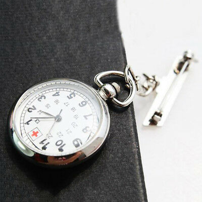 Large Face Nurses Pocket Fob Watch on a Bar with a Brooch Back Silver Color DP