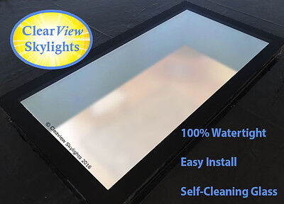 Glass Flat Rooflight, Roof Lantern, Skylight +Kerb - Triple Glazed - All Sizes