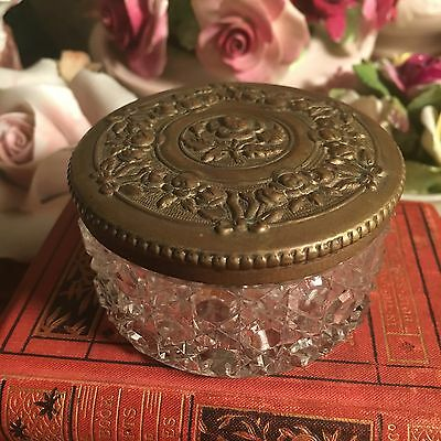 Stunning Little Antique Hobnail Glass Trinket Box With Pressed Metal Lid Powder