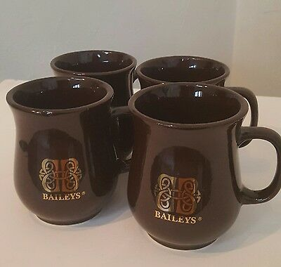 Baileys Dk Brown Mug/Cup. Gold Logo, Holds 9 Oz., 4 Count (New In Box/Old Stock)