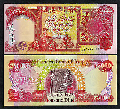 New 25,000 (25000) IRAQI Dinar UNCIRCULATED (SHIPPING from CANADA)