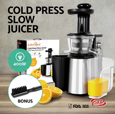 5 Star Chef Cold Press Slow Juicer Stainless Steel Fruit Vegetable Processor