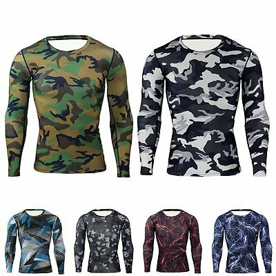 Mens Camo Under Base Layer Top Compression Long Sleeve T-Shirts Cycling Sports