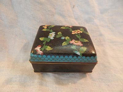 Vintage / Antique Chinese Cloisonne Jewelry or Trinket Box 3x3.75x2 Flower