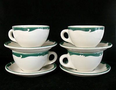 "4 Sets Syracuse China Restaurant Ware ""Wintergreen"" Pattern 4 Cups & 4 Saucers"