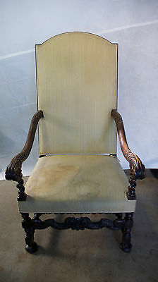 Early 18Th Century Louis Xiii Carved Walnut Armchair * Imported From France