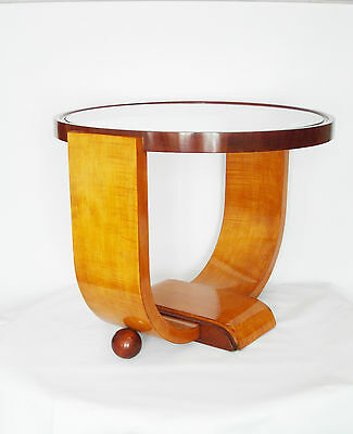 PEDESTAL TABLE ART DECO - year 40 design 20th sycamore and mahogany